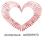 heart shaped mosaic frame with... | Shutterstock .eps vector #665049472