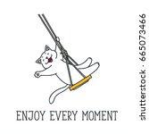 enjoy every moment. doodle... | Shutterstock .eps vector #665073466