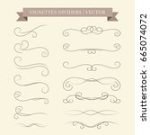 vector calligraphic design set. ... | Shutterstock .eps vector #665074072