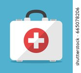 white first aid kit isolated on ... | Shutterstock . vector #665078206