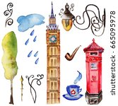 watercolor london illustration. ... | Shutterstock . vector #665095978