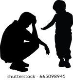 man worried sitting on the... | Shutterstock .eps vector #665098945