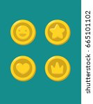 a set of icons of gold coins... | Shutterstock .eps vector #665101102