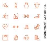 set of 16 bodybuilding outline... | Shutterstock .eps vector #665101216