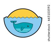 cute whale isolated icon | Shutterstock .eps vector #665103592