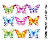 beautiful color butterflies set ... | Shutterstock .eps vector #665104702