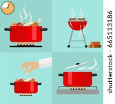 hot pan isolated  saucepan on... | Shutterstock .eps vector #665113186