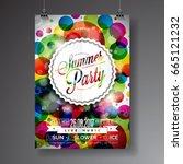 vector summer party flyer... | Shutterstock .eps vector #665121232