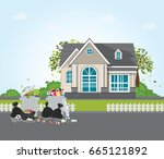 rubbish and dirty area at the... | Shutterstock .eps vector #665121892