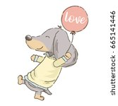 Stock vector valentine s day card cute cartoon dachshund flying with balloon vector 665141446