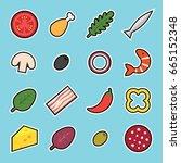 set of flat cartoon sticker... | Shutterstock .eps vector #665152348