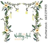 watercolor floral wedding arch... | Shutterstock . vector #665159905