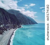 aerial view of qingshui cliff... | Shutterstock . vector #665174182