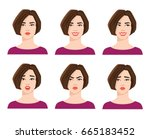 collection of woman's emotions. ... | Shutterstock .eps vector #665183452
