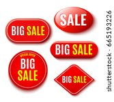 set of red sale banners. vector ... | Shutterstock .eps vector #665193226