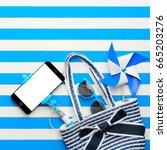 beach bag  sunglasses and... | Shutterstock . vector #665203276
