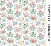 watercolor flowers seamless...   Shutterstock . vector #665212888