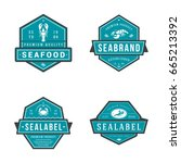 colored set of seafood labels... | Shutterstock .eps vector #665213392