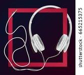 big earphones white in a red... | Shutterstock .eps vector #665215375