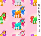 set of cute unicorns. the sides ... | Shutterstock .eps vector #665228182