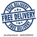 free delivery blue round grunge ... | Shutterstock .eps vector #665230942
