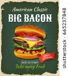 retro fast food bacon burger... | Shutterstock .eps vector #665237848