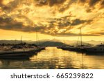 sunset on the harbor  bocca di... | Shutterstock . vector #665239822