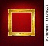 vintage gold picture frame on... | Shutterstock .eps vector #665245276