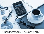 business objects in the office... | Shutterstock . vector #665248282