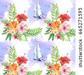 summer pattern with yachts | Shutterstock . vector #665271595