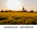 Church With Field Of Wheat...