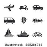 digital vector black travel... | Shutterstock .eps vector #665286766