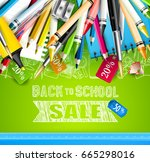 back to school sale flyer with... | Shutterstock .eps vector #665298016