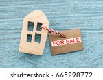 wood house with home for sale... | Shutterstock . vector #665298772