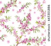 fashion blossom seamless... | Shutterstock . vector #665301886
