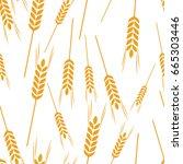 pattern wheat grain harvest... | Shutterstock .eps vector #665303446