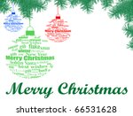 Christmas background with balls made of Christmas words - vector illustration - stock vector