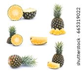 ripe pineapples isolated on ... | Shutterstock . vector #665319022