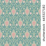 pattern with damask. turquoise... | Shutterstock .eps vector #665327182