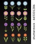 floral set isolate on dark...   Shutterstock .eps vector #665331286