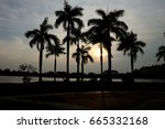 silhouette. palm trees are... | Shutterstock . vector #665332168