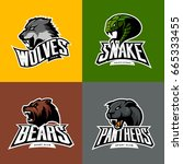 furious wolf  panther  bear ... | Shutterstock .eps vector #665333455