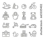 baby toys  thin monochrome icon ... | Shutterstock .eps vector #665335402