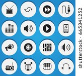 set of 16 editable media icons. ...