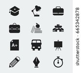 set of 12 editable knowledge... | Shutterstock .eps vector #665342878