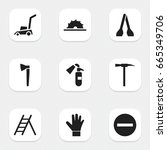 set of 9 editable equipment...