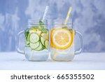 delicious detox water with... | Shutterstock . vector #665355502