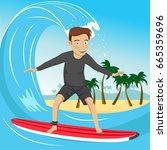 male surfer riding large blue... | Shutterstock .eps vector #665359696