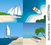 Boat By The Sea Flat Vector...