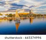 luxor on the river nile is a... | Shutterstock . vector #665374996